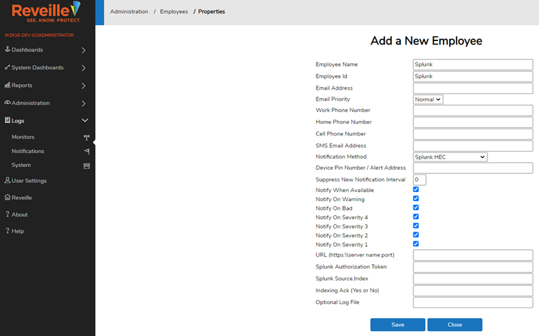 Example Splunk Employee Entry